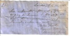 John Timbs - author & antiquary as Horace Welby - original signed 1868 IOU £25