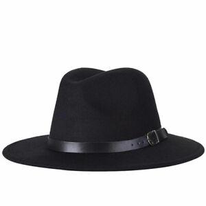 Vintage Wool Felt Wide Brim Fedora Trilby Hat Women Men Floppy Panama Cap Grace