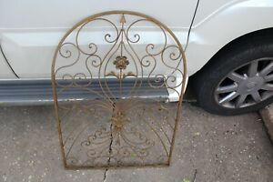 Vintage Victorian Hollywood Regency Metal Fence Wall Art #2 Flowers Scrolls Gold