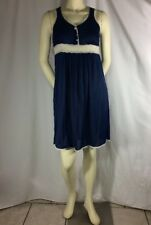 French Blue Vintage Velrose Nightgown Fabulous w/White Lace Sleeveless Small