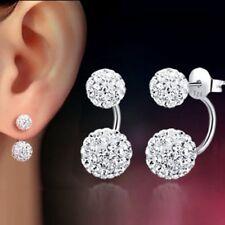 Donne gioielli 925 argento Sterling strass perline doppio cristallo Orecchini