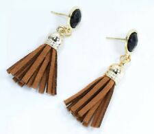 Brown Tassel Fringe Long Dangle Ear Earrings Suede Women Fashion Party Jewellery