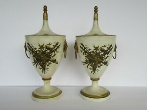 Vtg Pair Mid-Century Tin tole Italy Italian Covered Urn, Signed & Numbered