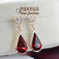 18CT Rose Gold GP Elegant Ruby Waterdrop Stud Earrings MadeWith SwarovskiCrystal