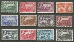 MONTSERRAT SG101a-12  THE 1938-48  GVI SET OF 12 FINE USED CAT £70 MINIMUM