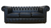 Chesterfield Traditional 3 Seater Sofa Suite Settee Premium Black Real Leather