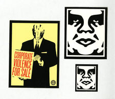 OBEY GIANT Shepard Fairey 3 STICKER LOT Set #2 BRAND NEW Corporate Violence Sale