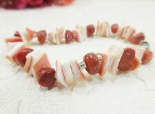 """Lotta Styles Coral Shell Chip Beads & Nuggets 8"""" Bracelet Barrel Clasp"""