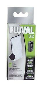 Fluval U2 Fish Turtle Tank Filter Poly / Carbon Cartridge - 2 pk - A490