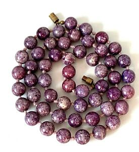 Vintage Purple Lilac Mottled Speckled Glass Beads Knotted In-between Necklace