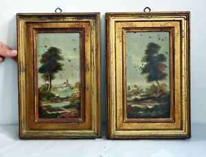 Superb Signed Antique Pair of Italian Oil on Copper Oil Paintings in Gilt Frames