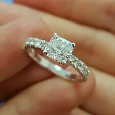 1.80 Ct Cushion Solitaire Diamond Wedding Ring 14K Solid White Gold Rings Size 6