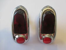 49 50 CHEV TAIL LIGHTS NEW COMPLETE INCLUDING GASKET 1949 1950 STAINLESS BEZEL