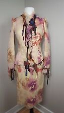 MOSCHINO Pink Floral Jacket Skirt Suit with Frayed Trim Leather Details US 6