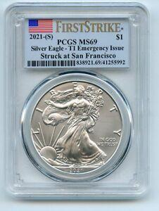 2021 (S) $1 American Silver Eagle 1oz Dollar Emergency PCGS MS69 First Strike