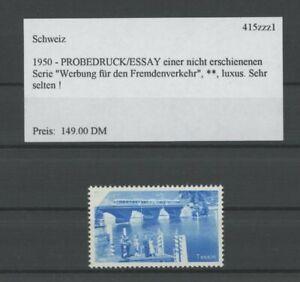 SWITZERLAND SPECIMEN 1950 ESSAY TEST PRINT PROOF TESSIN BRIGDE TRAIN /m2155