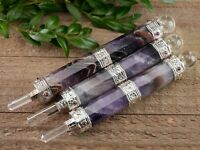 AMETHYST and GARNET Wand - M, L - Quartz Crystal Reiki Healing Chakra E1412