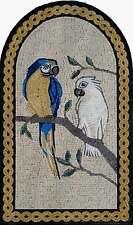 "36""x 22"" Handmade Two Parrots Arbor Tree Garden Nature Decor Art Marble Mosaic"