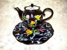 Bella Casa by Ganz Black Teapot w/Centered Orange Floral w/Optional Serving Dish