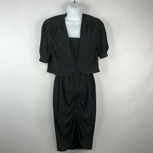 Vintage 70s Leningrad Clothes Black Silver Lurex Disco Dress Jacket Set Size XS
