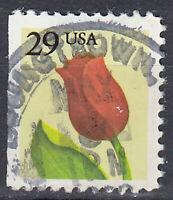 USA Briefmarke gestempelt 29c Tulpe Blume Flora Fauna Natur Rundstempel / 3816