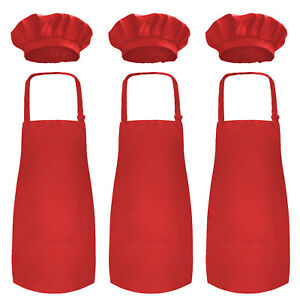 Novelty Place Kid's Apron with Chef Hat Set - Kid's Size - Painting Wear 3 Pack