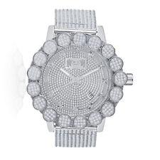 White Gold Tone Real Diamond Khronos Watch Big Face Flower Bezel Custom Band New