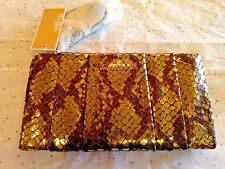 NWT Michael Kors Python Embossed Leather Pleated Daria Clutch/ Crossbody Purse
