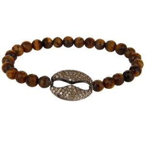 Natural Tiger Eye Gemstone Stretch Bracelet With Pave Set Diamond Silver Charms