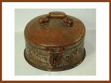 Antique Metal Hinged Tea Storage Box with Hasp Latch and Stamping