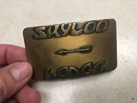 OA Lodge 442 Skyloo Flat Brass Belt Buckle w/Arrow Totem