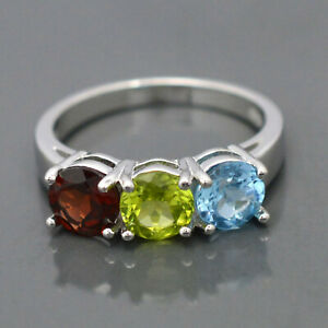 Round Natural Garnet & Swiss & Peridot Gemstone 925 Sterling Silver Cluster Ring