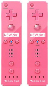 2 Packs - Remote Motion Plus Controller for Nintendo Wii & Wii U Video Game Pink