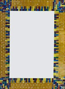 """Handcrafted Mosaic Decor Wall Mirror, Light Brown Border 24"""" x 32"""""""