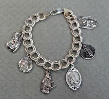 """Sterling Silver Heavy Traditional Charm Bracelet With Religious Charms 8"""""""