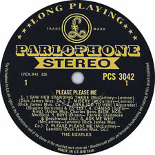 "THE BEATLES PLEASE PLEASE ME BLACK/GOLD 1ST VINYL STICKER 100MM 4"" LP SIZE"