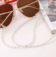 White beaded cord chain lace lanyard strap string eye-glasses mag sunglasses