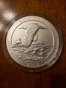 2018 ATB BLOCK ISLAND 5 TROY OZ .999 SILVER QUARTER BURNISHED