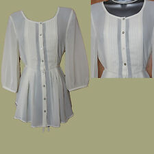 MONSOON Cream Ivory Long Sleeve Front Buttons Casual Tunic Top Shirt UK 10 EU 38