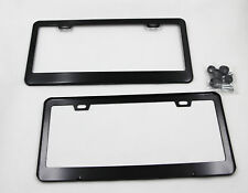 2 pcs Thin Metal License Plate Tag Frames Black w/ Screw Caps for Ford Car Auto