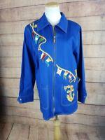 NWT BOB MACKIE WEARABLE ART Womens M Blue Nautical Theme Jacket