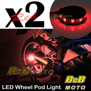 2x Red 360 Degree Cycle Rim Wheel SMD LED Pod Light For Suzuki Motorcycles