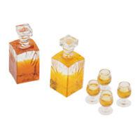 Miniatur Whiskyflasche Whiskyset 4 Gläser + Karaffe für Puppenhaus Küche