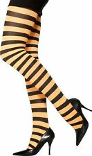 Smiffys Sheer Desires Black & Orange Ladies Striped Tights One Size