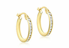 9ct Yellow Gold 16mm Single Row CZ Creole Earrings Solid Gold Box Gift