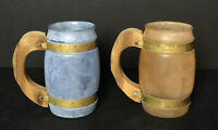 Vintage Siesta Ware Banded Barrel Mugs With Wooden Handles Frosted MCM Set of 2