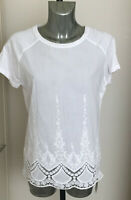 M&S Indigo Size 10 14 16 18 White Embroidered Lace Trim Short Sleeve Top Blouse