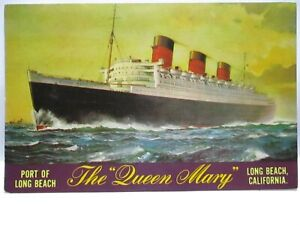 """1960s POSTCARD  THE """" QUEEN MARY """" PORT OF LONG BEACH CAL BIO UNUSED"""