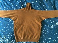 Vintage 100% Sottish Hawick Cashmere Toffee Brown Polo Neck Jumper Size S