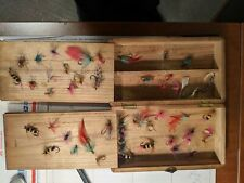 Lot of 48 Vintage Estate Fishing Flies and wooden case